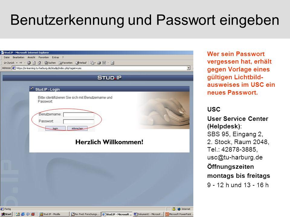Benutzerkennung und Passwort eingeben
