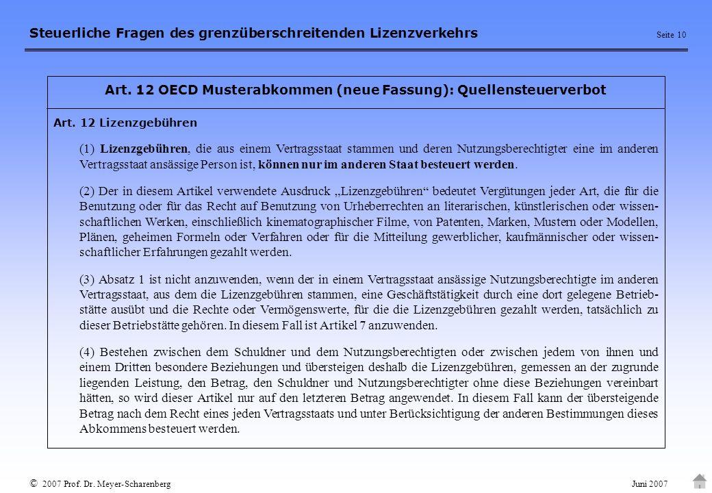 Art. 12 OECD Musterabkommen (neue Fassung): Quellensteuerverbot