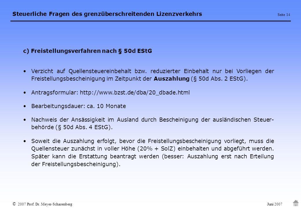 c) Freistellungsverfahren nach § 50d EStG