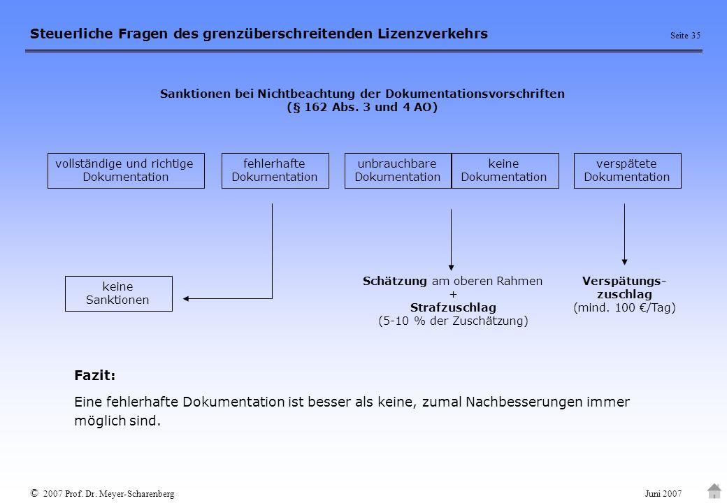 Sanktionen bei Nichtbeachtung der Dokumentationsvorschriften (§ 162 Abs. 3 und 4 AO)
