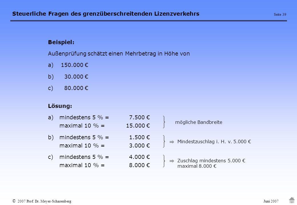 Außenprüfung schätzt einen Mehrbetrag in Höhe von a) 150.000 €