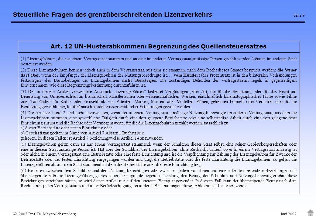 Art. 12 UN-Musterabkommen: Begrenzung des Quellensteuersatzes