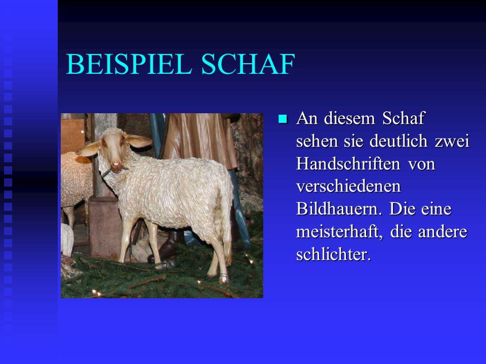 BEISPIEL SCHAF An diesem Schaf sehen sie deutlich zwei Handschriften von verschiedenen Bildhauern.