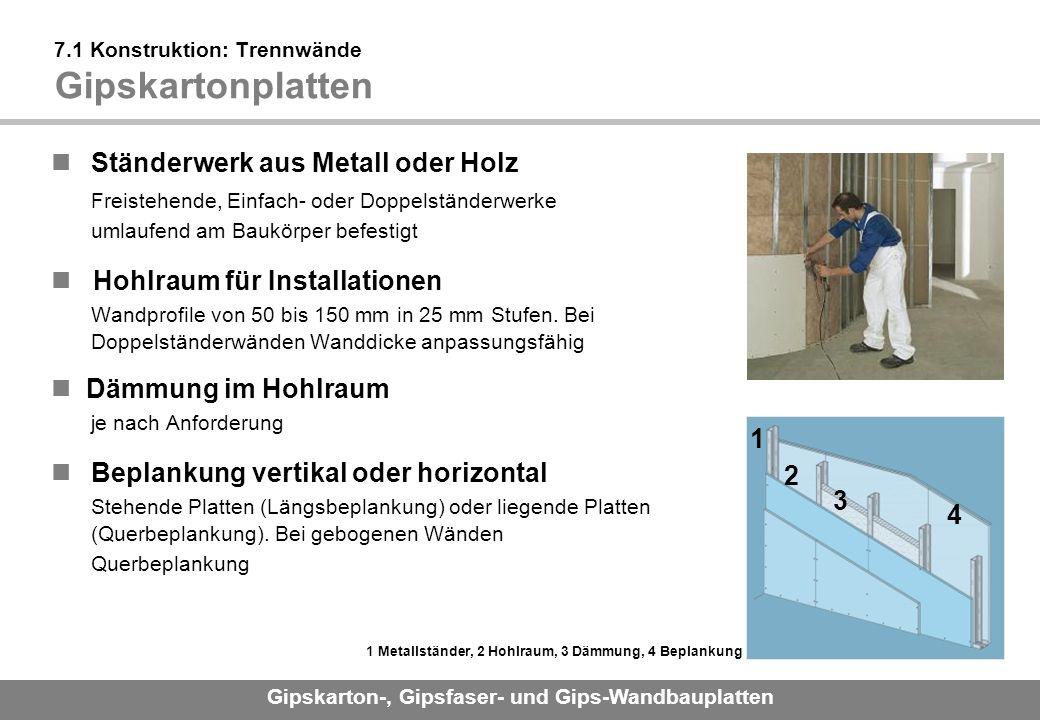 7.1 Konstruktion: Trennwände Gipskartonplatten