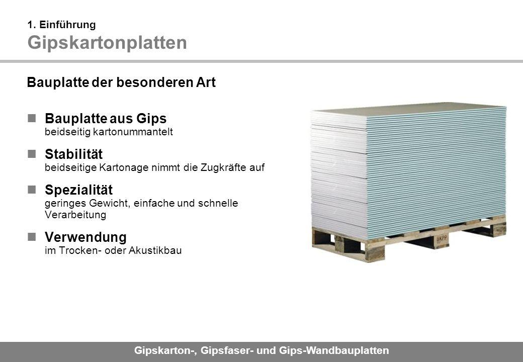 1. Einführung Gipskartonplatten