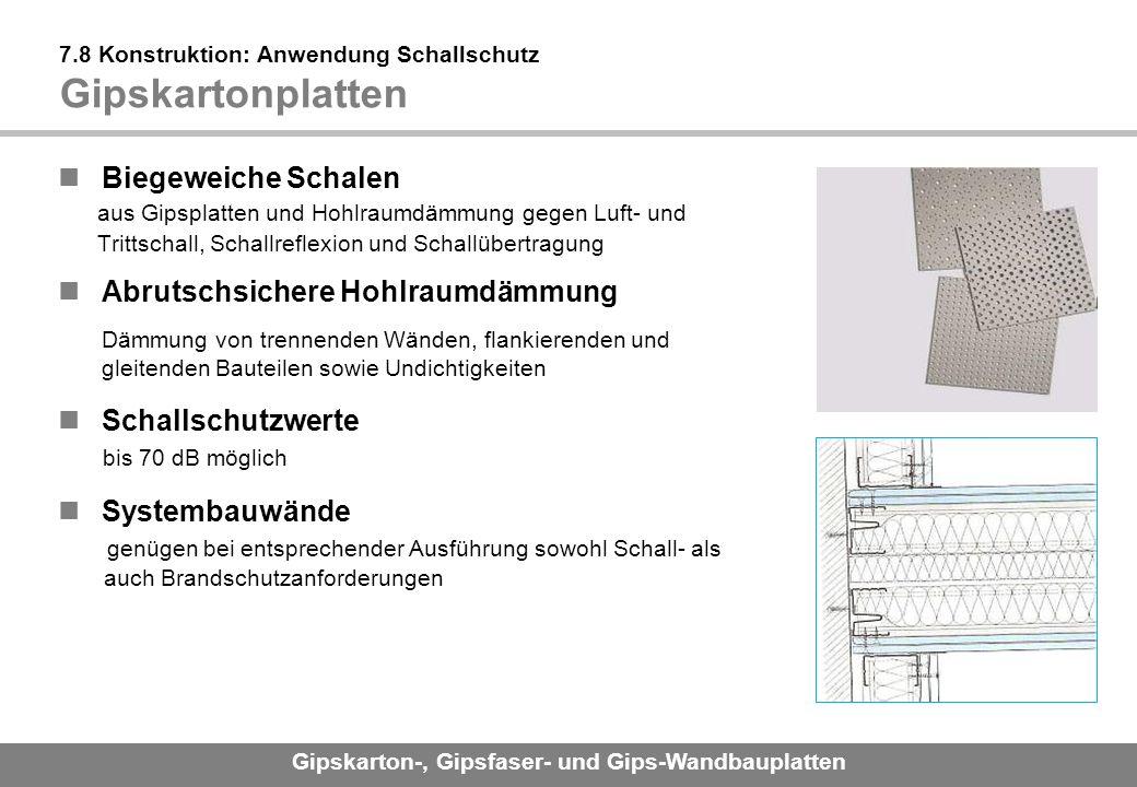 7.8 Konstruktion: Anwendung Schallschutz Gipskartonplatten