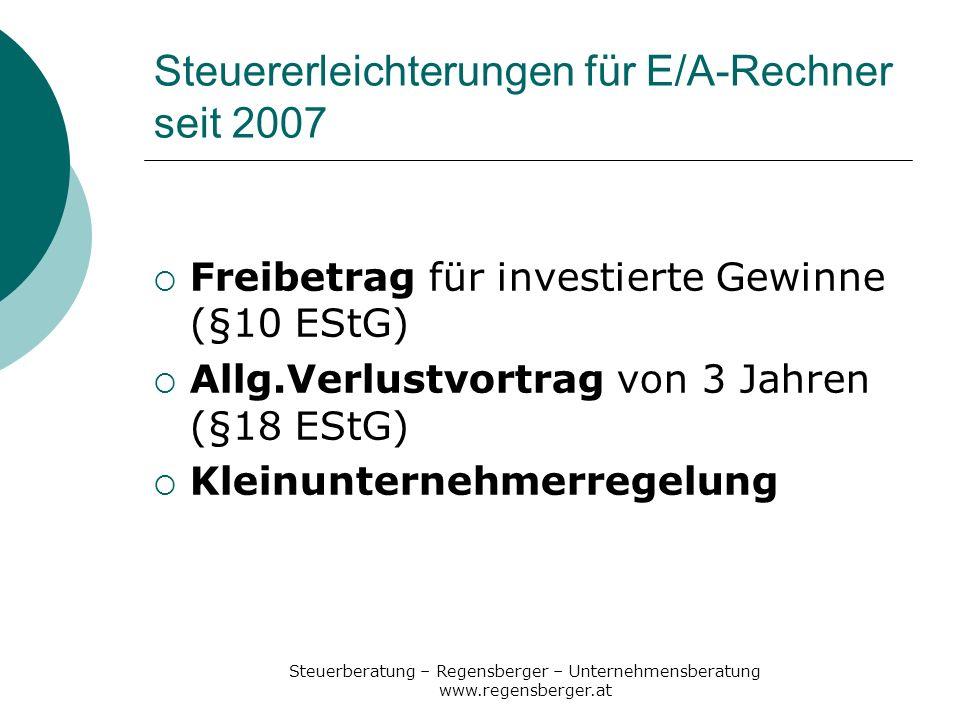 Steuererleichterungen für E/A-Rechner seit 2007