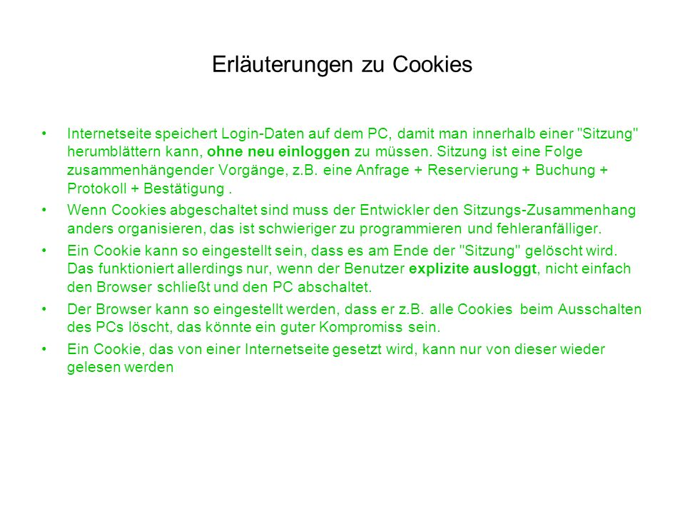 Erläuterungen zu Cookies