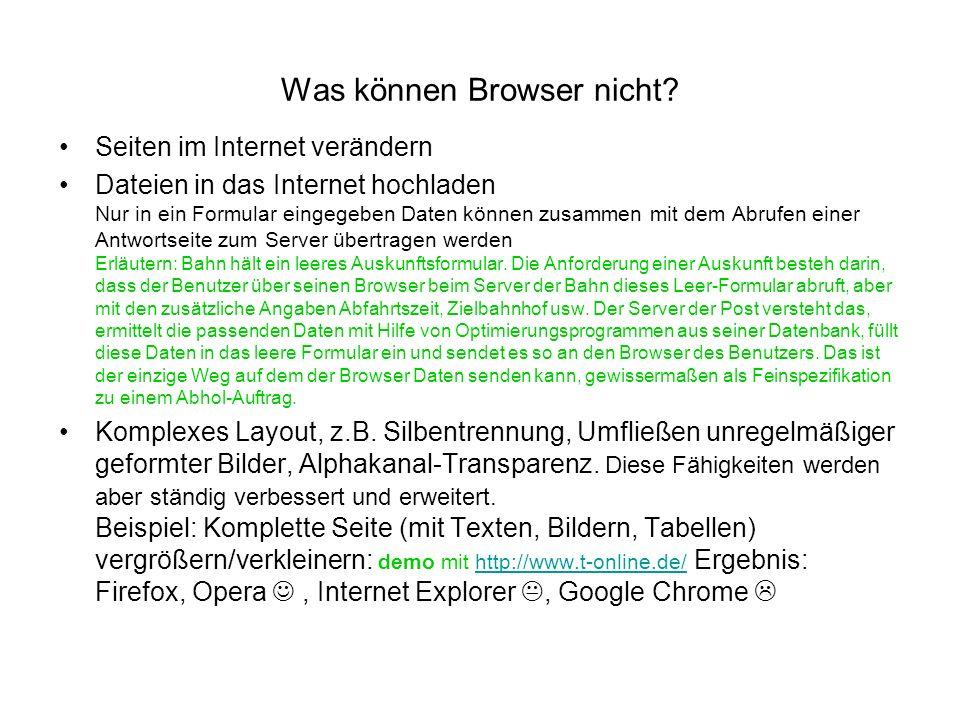 Was können Browser nicht