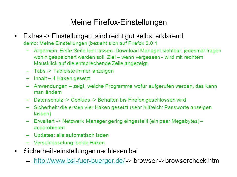 Meine Firefox-Einstellungen