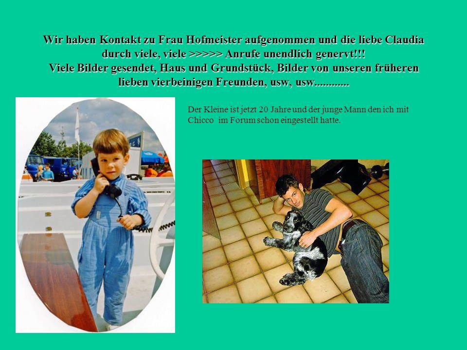 Wir haben Kontakt zu Frau Hofmeister aufgenommen und die liebe Claudia durch viele, viele >>>>> Anrufe unendlich genervt!!! Viele Bilder gesendet, Haus und Grundstück, Bilder von unseren früheren lieben vierbeinigen Freunden, usw, usw............