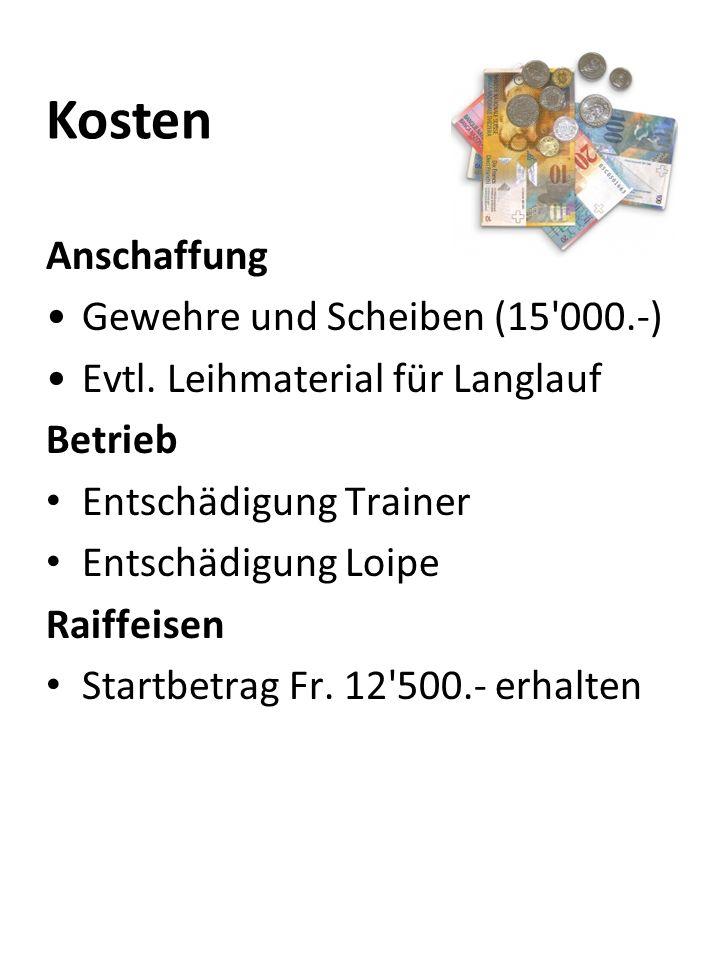Kosten Anschaffung Gewehre und Scheiben (15 000.-)