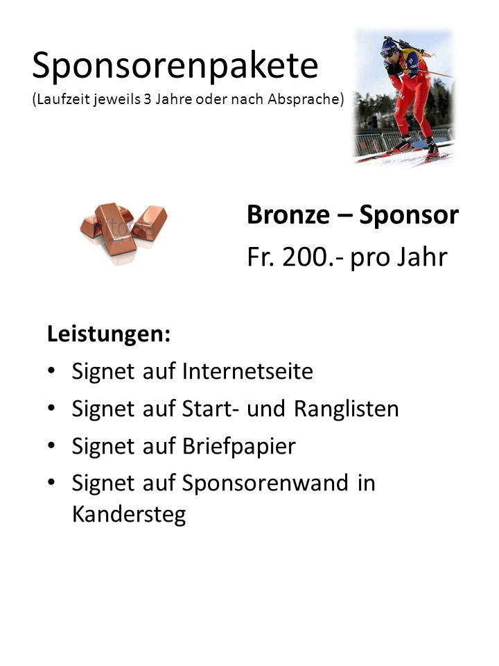 Sponsorenpakete (Laufzeit jeweils 3 Jahre oder nach Absprache)