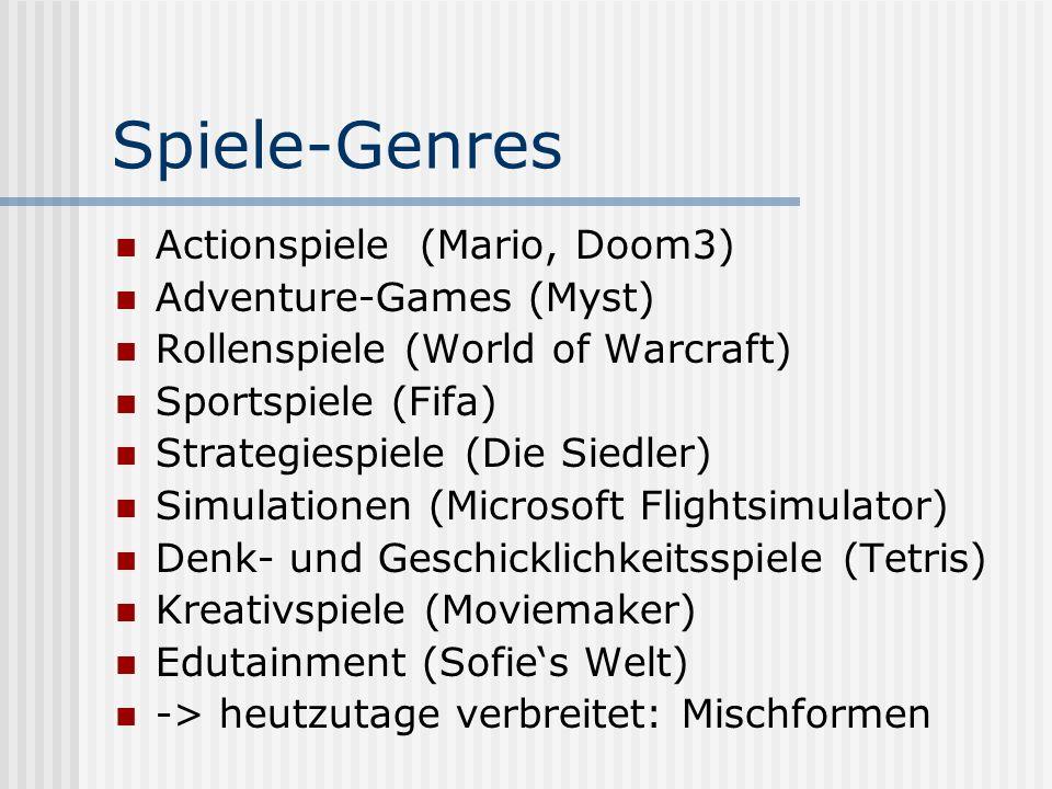 Spiele-Genres Actionspiele (Mario, Doom3) Adventure-Games (Myst)
