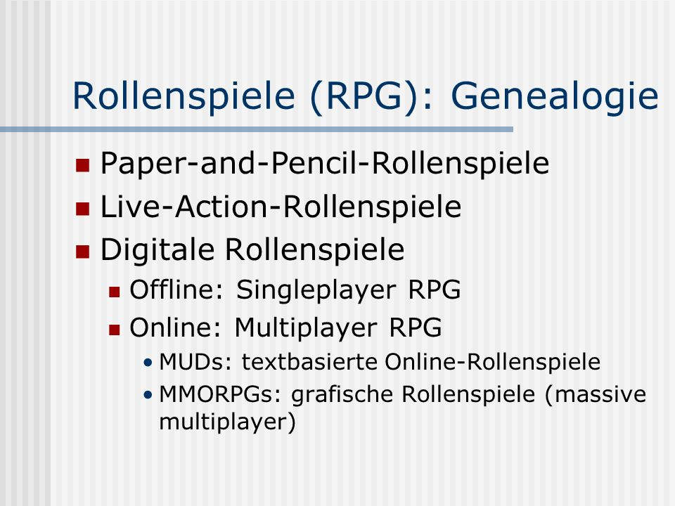 Rollenspiele (RPG): Genealogie