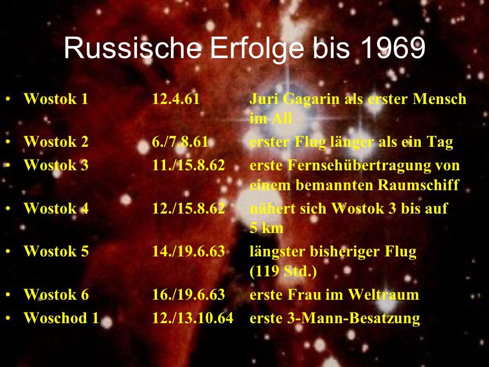 Russische Erfolge bis 1969Wostok 1 12.4.61 Juri Gagarin als erster Mensch im All. Wostok 2 6./7.8.61 erster Flug länger als ein Tag.