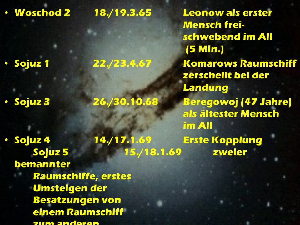 Woschod 2. 18. /19. 3. 65. Leonow als erster. Mensch frei-