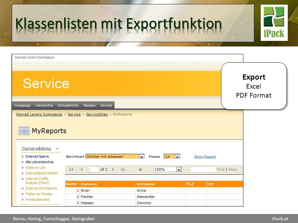 Klassenlisten mit Exportfunktion