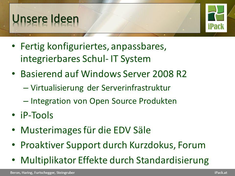 Unsere Ideen Fertig konfiguriertes, anpassbares, integrierbares Schul- IT System. Basierend auf Windows Server 2008 R2.