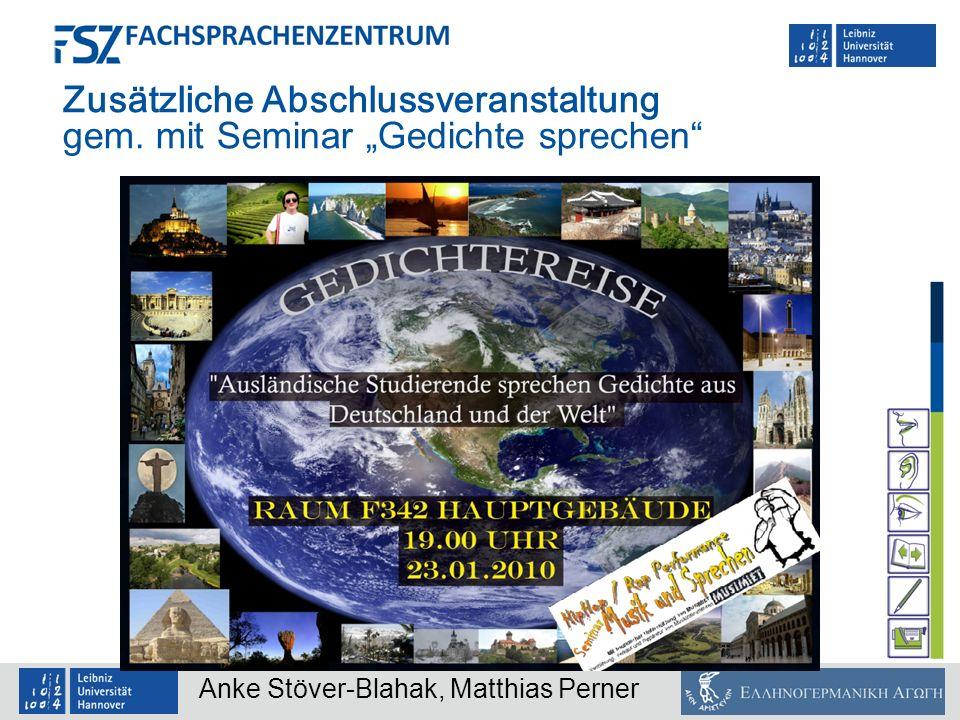"""Zusätzliche Abschlussveranstaltung gem. mit Seminar """"Gedichte sprechen"""