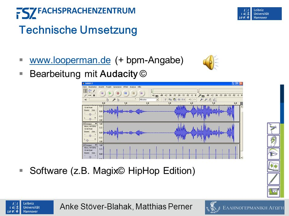 Technische Umsetzung www.looperman.de (+ bpm-Angabe)