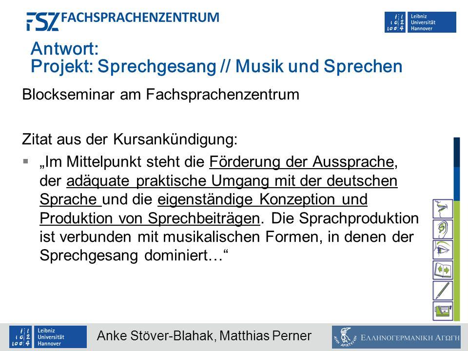 Antwort: Projekt: Sprechgesang // Musik und Sprechen