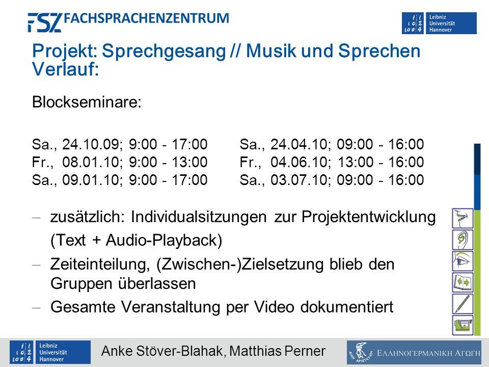 Projekt: Sprechgesang // Musik und Sprechen Verlauf: