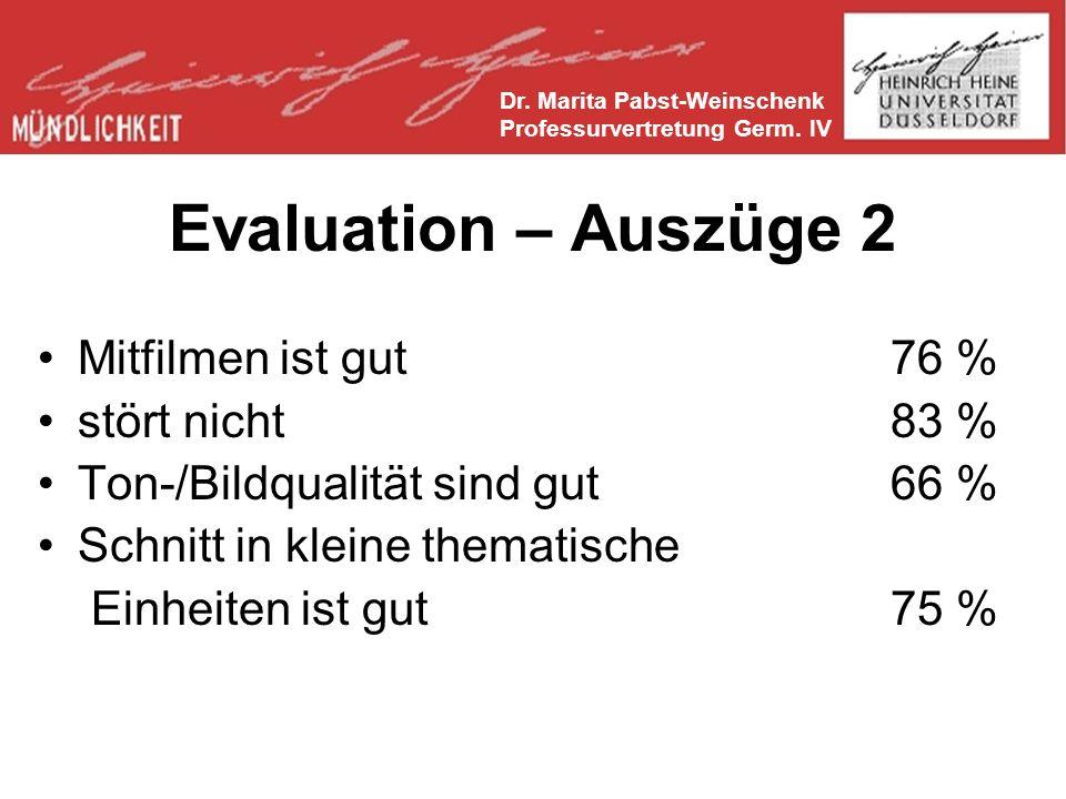 Evaluation – Auszüge 2 Mitfilmen ist gut 76 % stört nicht 83 %