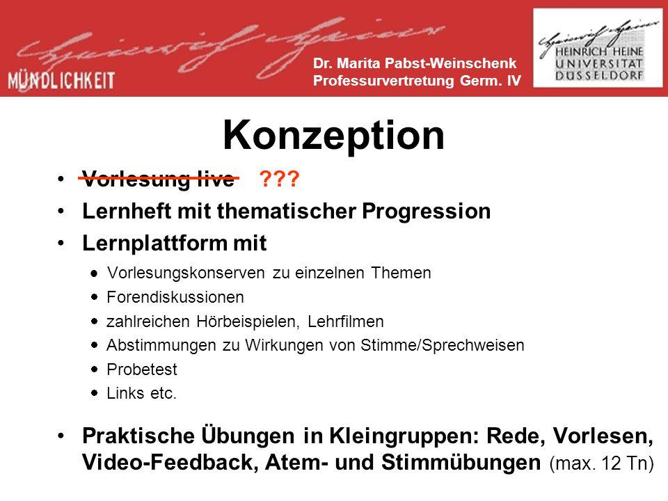 Konzeption Vorlesung live Lernheft mit thematischer Progression