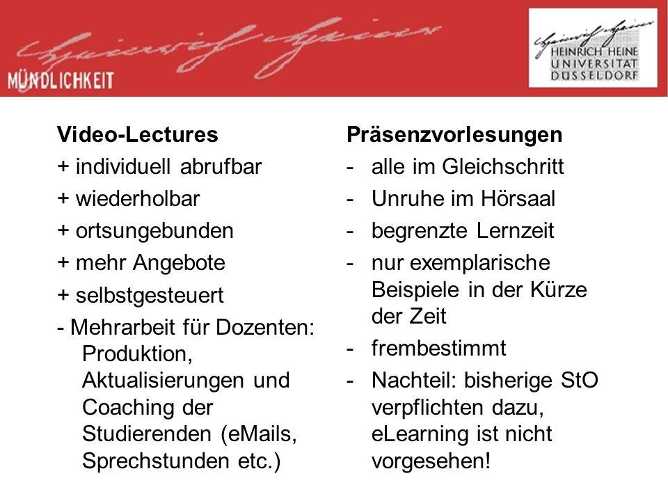 Video-Lectures + individuell abrufbar. + wiederholbar. + ortsungebunden. + mehr Angebote. + selbstgesteuert.