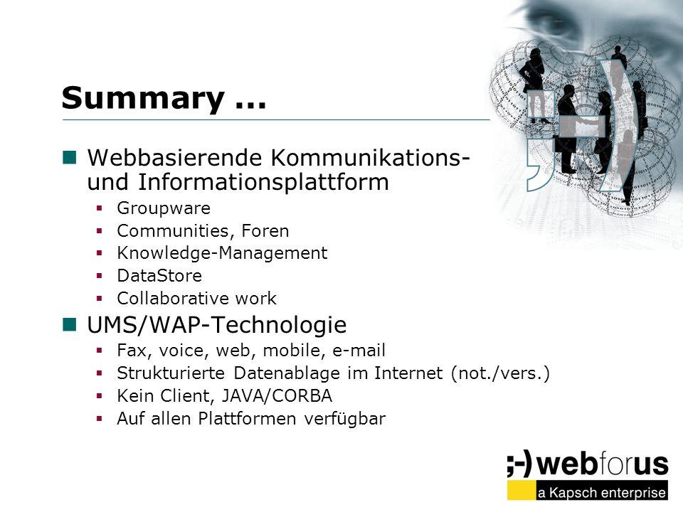 Summary ... Webbasierende Kommunikations- und Informationsplattform