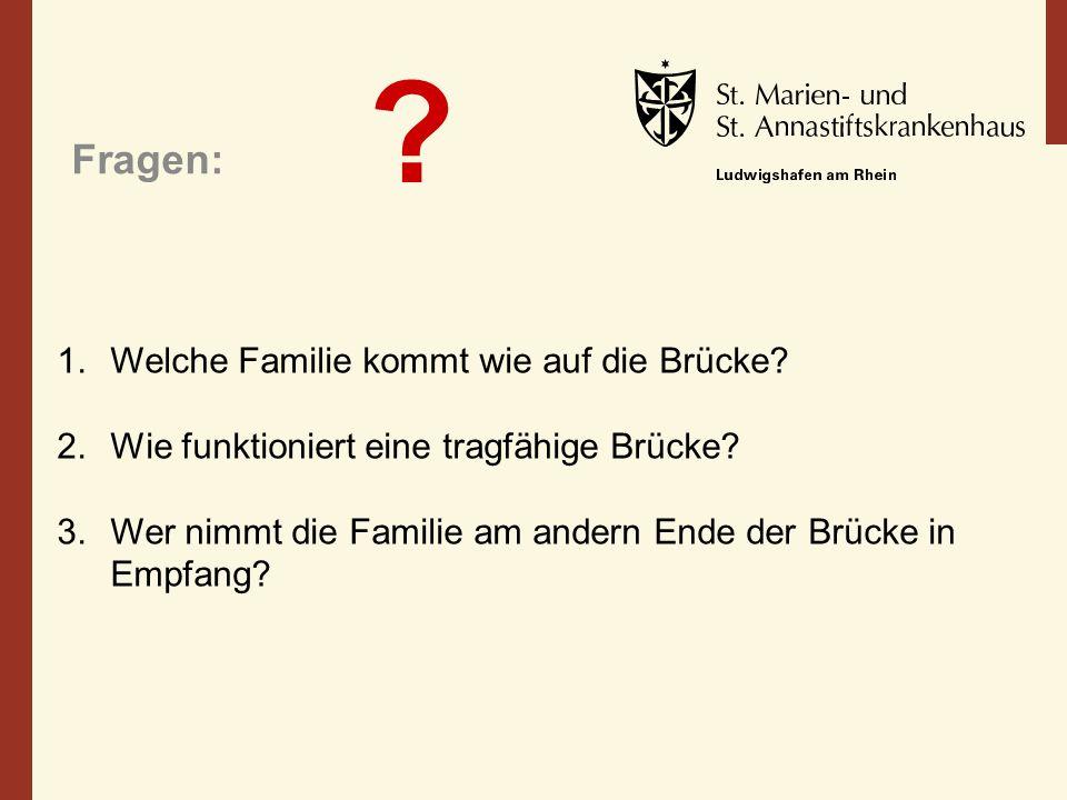 Fragen: Welche Familie kommt wie auf die Brücke