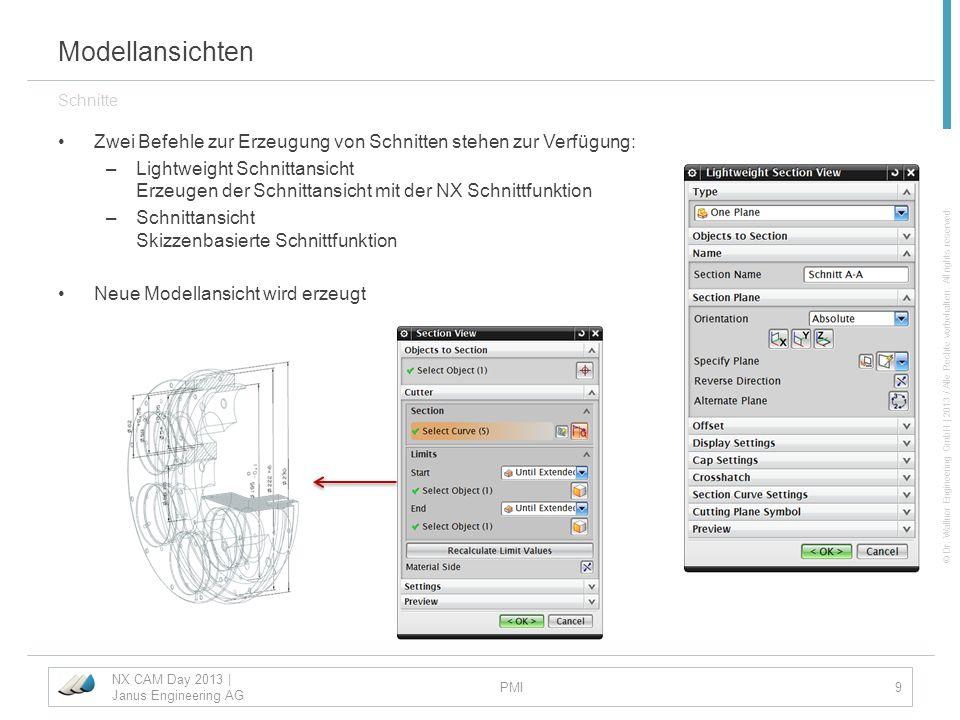 ModellansichtenSchnitte. Zwei Befehle zur Erzeugung von Schnitten stehen zur Verfügung: