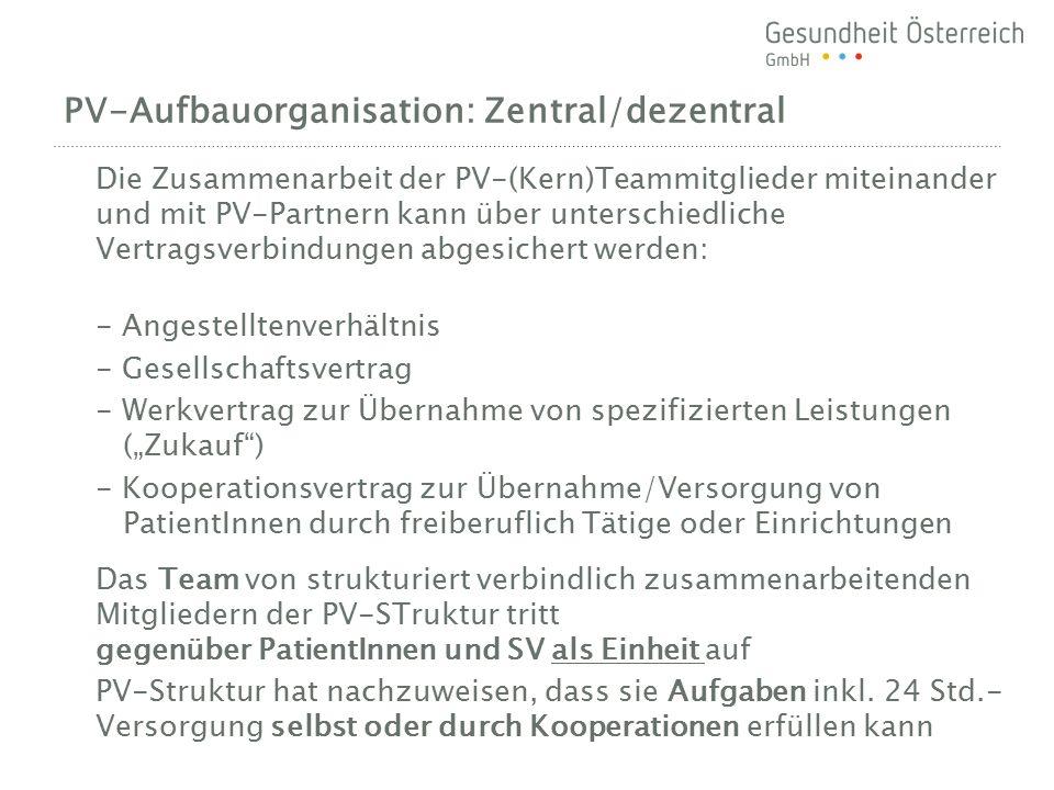 PV-Aufbauorganisation: Zentral/dezentral