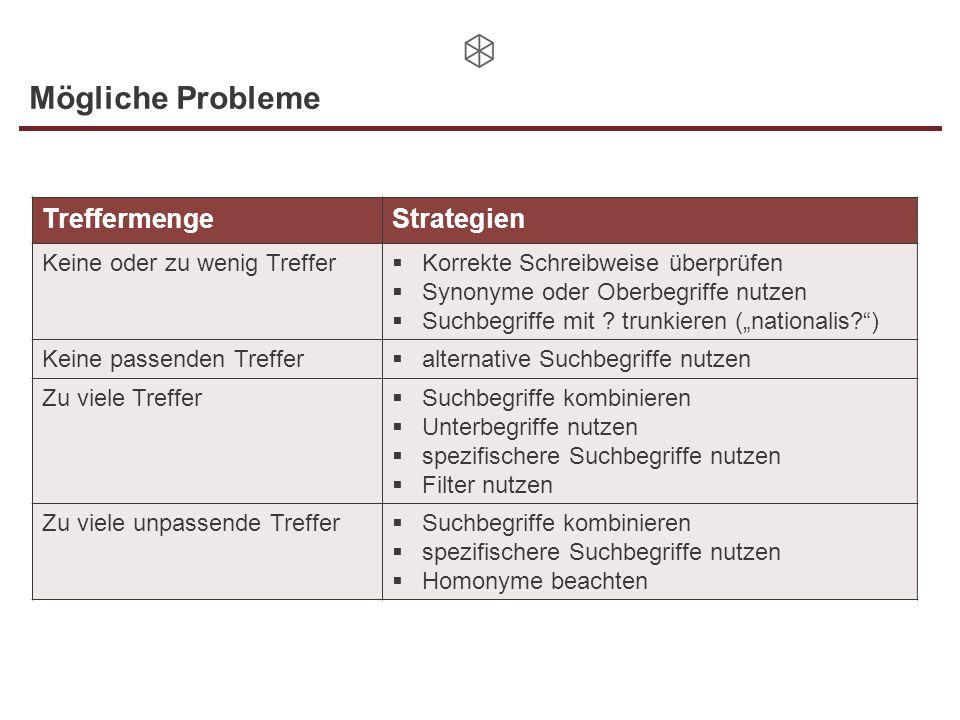 Mögliche Probleme Treffermenge Strategien Keine oder zu wenig Treffer