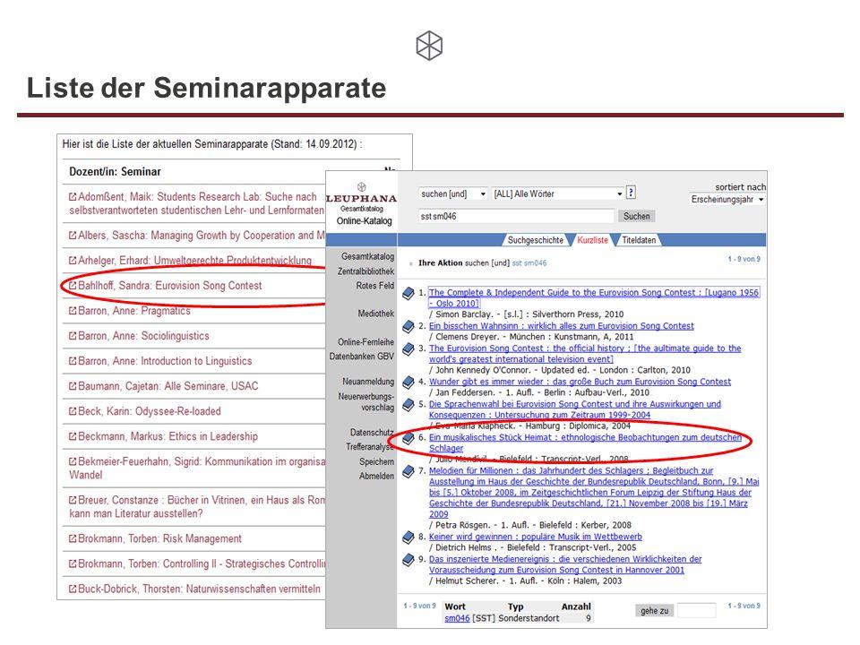 Liste der Seminarapparate
