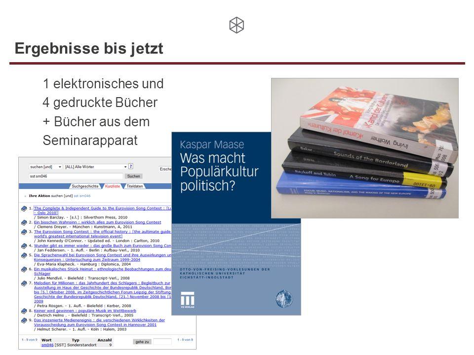 Ergebnisse bis jetzt 1 elektronisches und 4 gedruckte Bücher