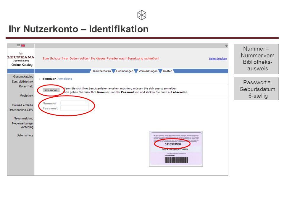 Ihr Nutzerkonto – Identifikation