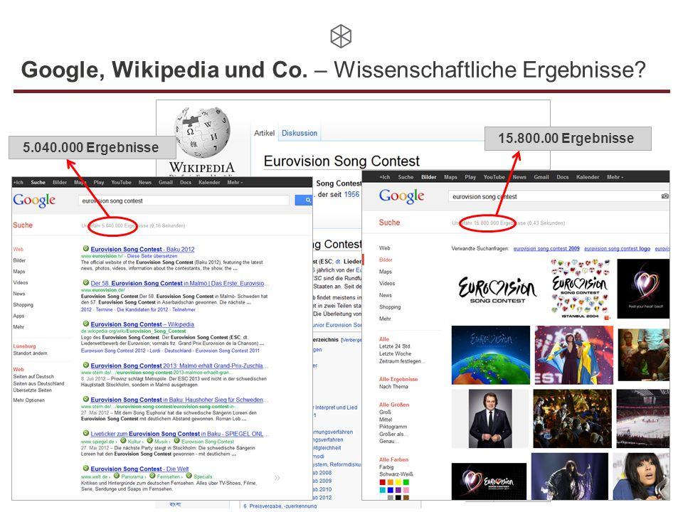 Google, Wikipedia und Co. – Wissenschaftliche Ergebnisse