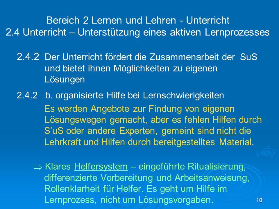 Bereich 2 Lernen und Lehren - Unterricht 2