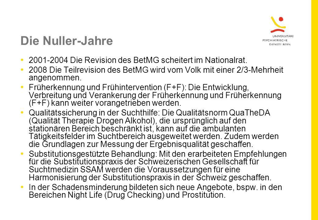 Die Nuller-Jahre 2001-2004 Die Revision des BetMG scheitert im Nationalrat.