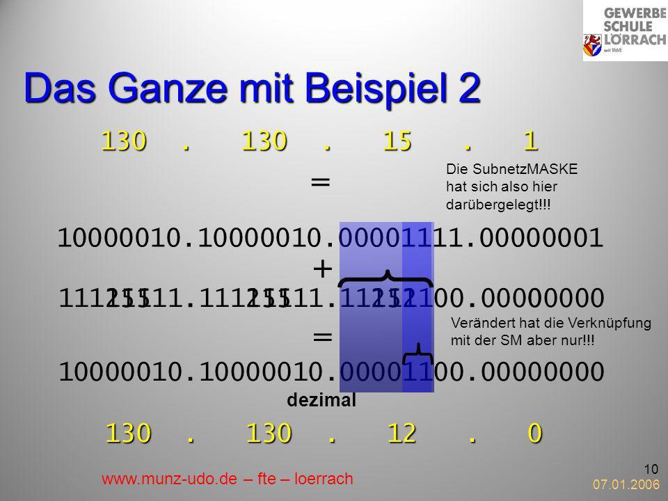 Das Ganze mit Beispiel 2 = + + = 130 . 130 . 15 . 1