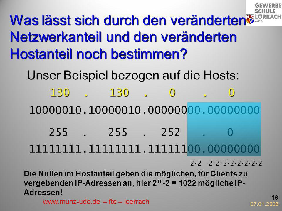 Was lässt sich durch den veränderten Netzwerkanteil und den veränderten Hostanteil noch bestimmen