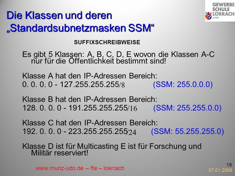 """Die Klassen und deren """"Standardsubnetzmasken SSM"""