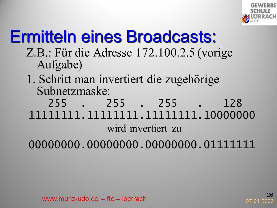 Ermitteln eines Broadcasts: