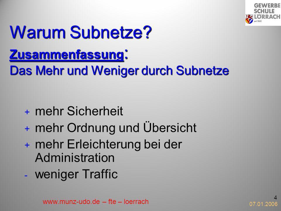 Warum Subnetze Zusammenfassung: Das Mehr und Weniger durch Subnetze