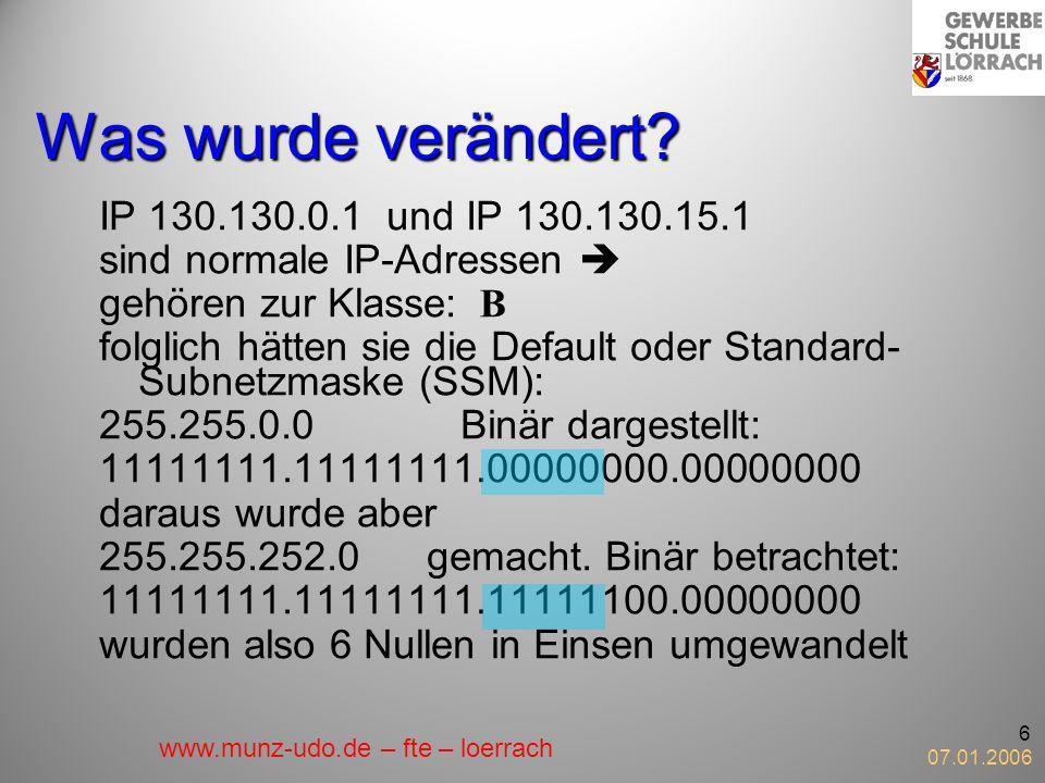 Was wurde verändert IP 130.130.0.1 und IP 130.130.15.1