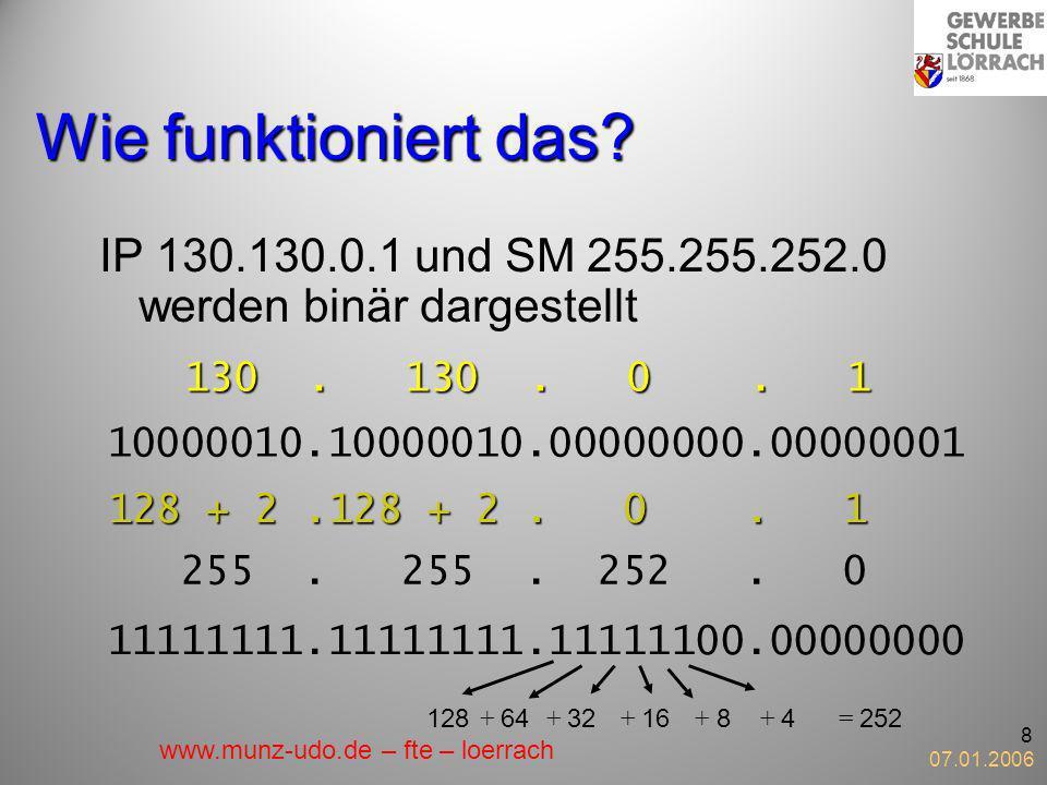 Wie funktioniert das IP 130.130.0.1 und SM 255.255.252.0 werden binär dargestellt. 130 . 130 . 0 . 1.