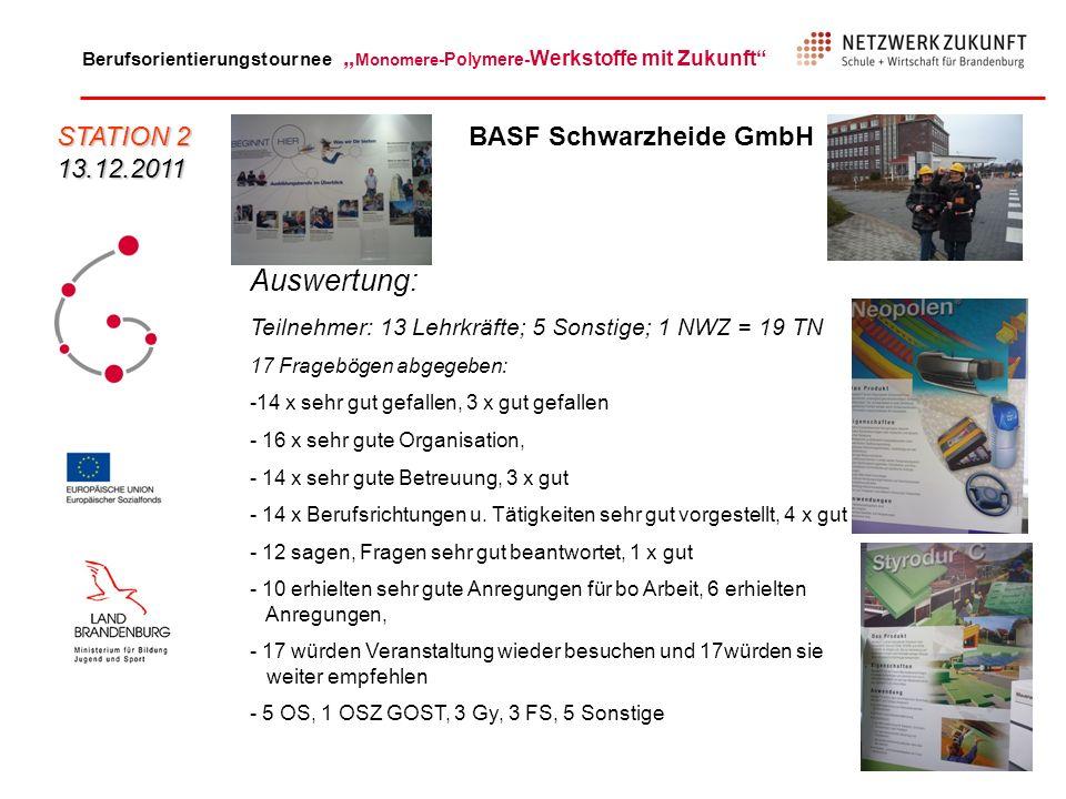 Auswertung: STATION 2 13.12.2011 BASF Schwarzheide GmbH