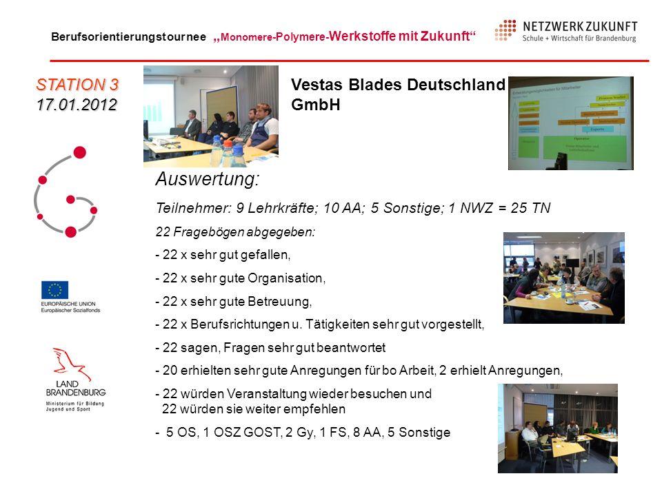 Auswertung: STATION 3 17.01.2012 Vestas Blades Deutschland GmbH